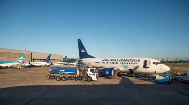 Jorge Newbery Airport refueling stock photo