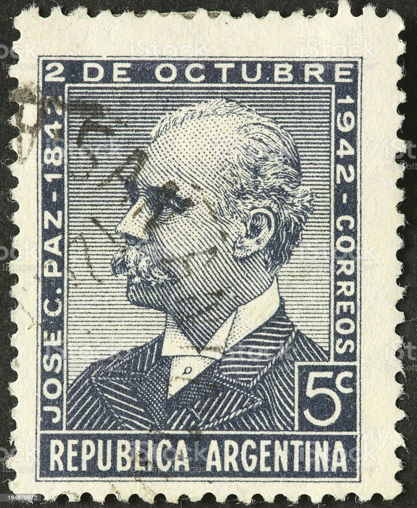 José Clemente Paz, Argentine statesman and journalist on postage stamp royalty-free stock photo