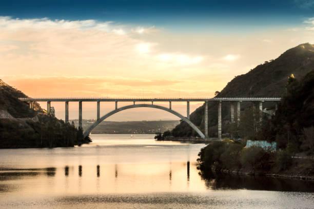 José M. de la Sota bridge, San Roque lake, Villa Carlos Paz, Córdoba, Argentina. stock photo