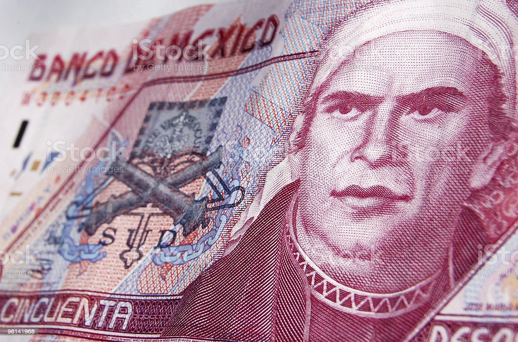Jose Maria Morelos on banknote royalty-free stock photo