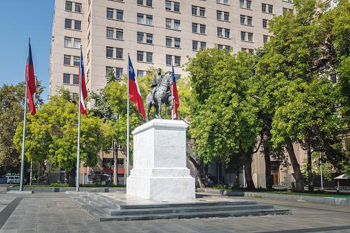Jose Miguel Carrera General Statue at Bulnes Square - Santiago, Chile