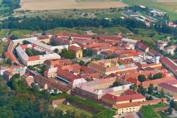 Josefov, Czechia - 08/25/2019: Aerial view of a fort Josefov in Czechia. stock photo
