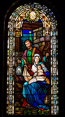 istock Joseph, Mary, and baby Jesus in stained glass 162456146