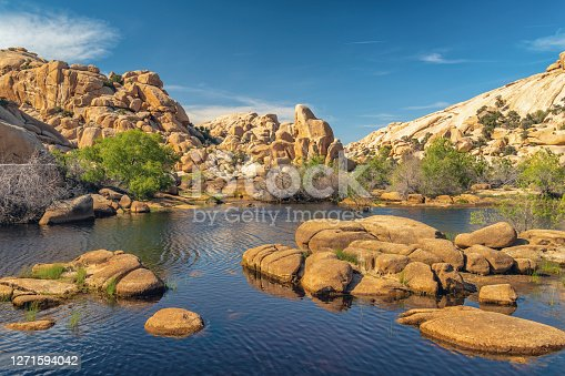 Joshua Tree National Park, California.  The wonderland of rocks and reservoir above the Barker Dam