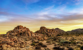The sun sets on a Joshua Tree National Park.