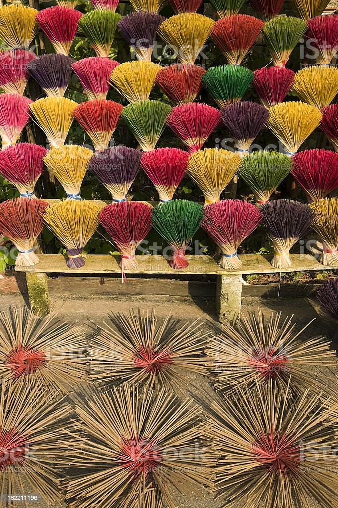 joss incense sticks drying hue vietnam royalty-free stock photo