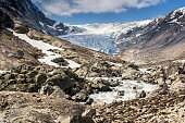 Fabergstolsbreen glacier in Nigardsvatnet Jostedalsbreen national park in Norway in a sunny day