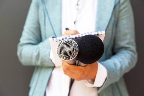 Journalist bei der Presse oder Pressekonferenz – Foto