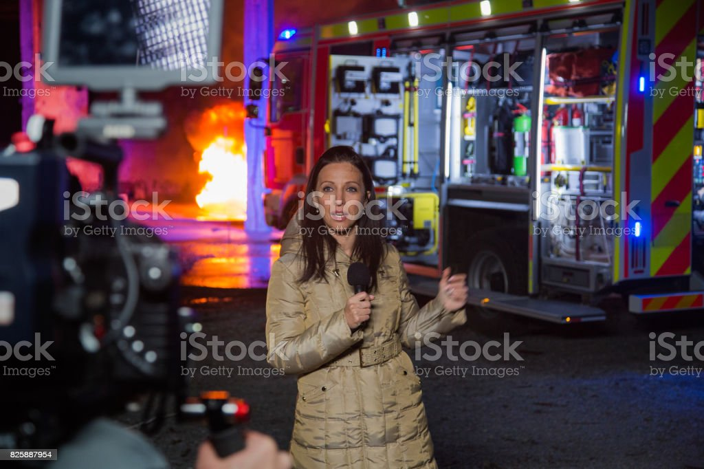 Journalist covering news stock photo