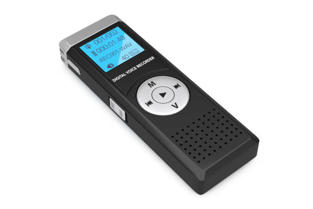 journalist digital voice recorder or dictaphone. 3d rendering - recorder stock photos and pictures