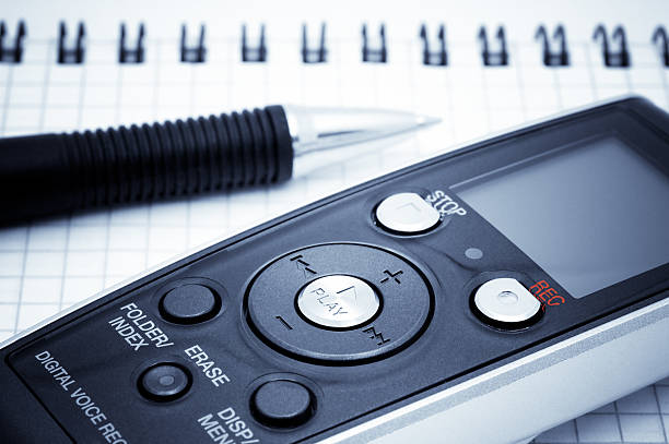 journalist equipment. digital voice recorder, pen, notebook - dictaphone stock pictures, royalty-free photos & images