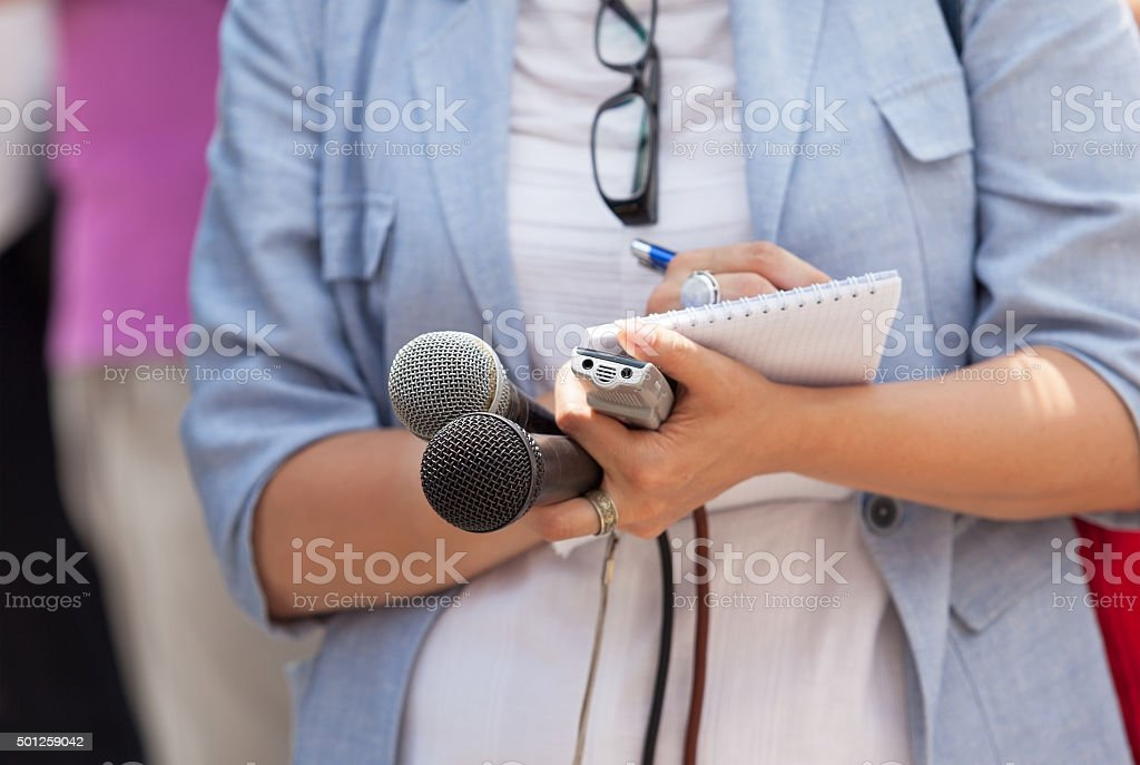 Journalist. News conference. stock photo
