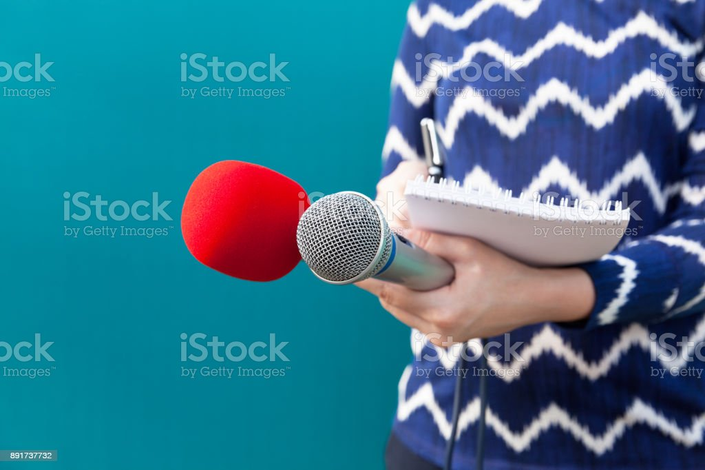 Journalist. Press conference. Journalism. stock photo