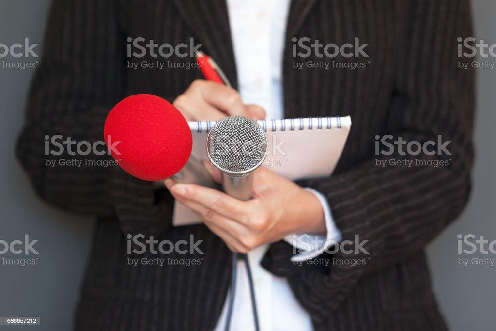 ジャーナリスト。記者会見。ニュースを報告します。 ストックフォト