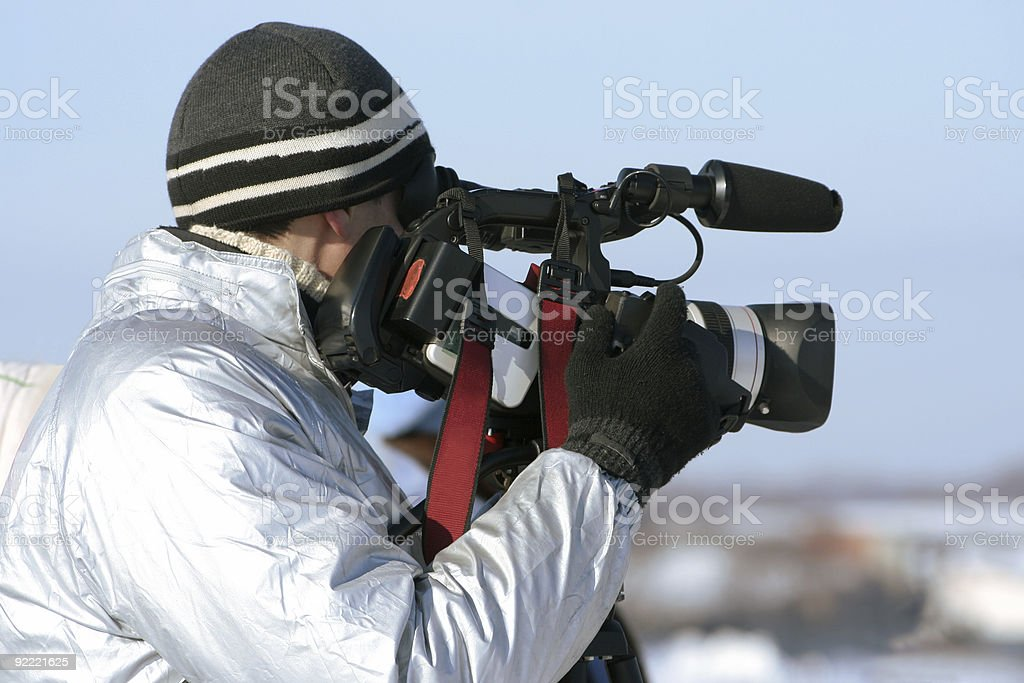 journalist with a videocamera stock photo
