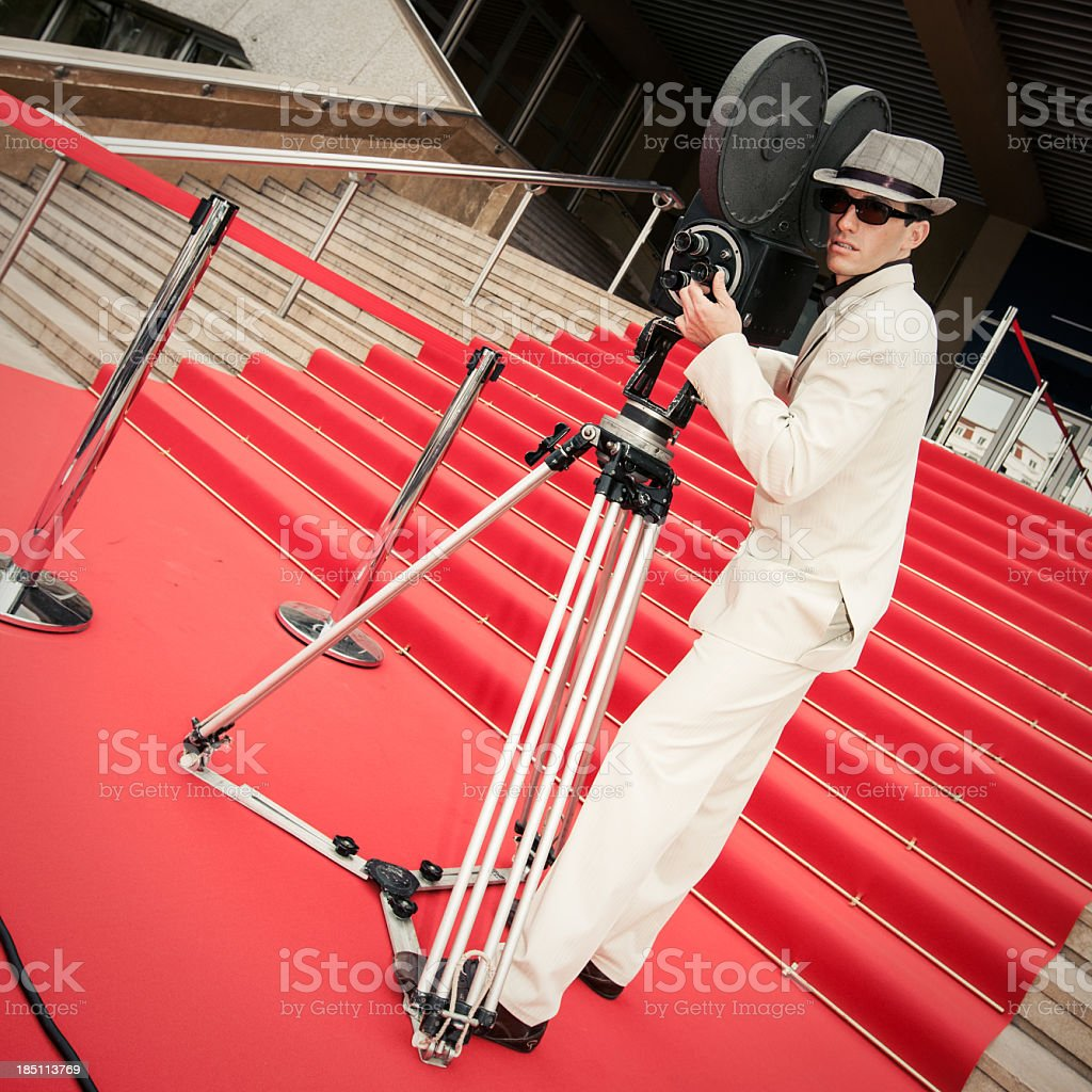 Journalist with old camera royalty-free stock photo