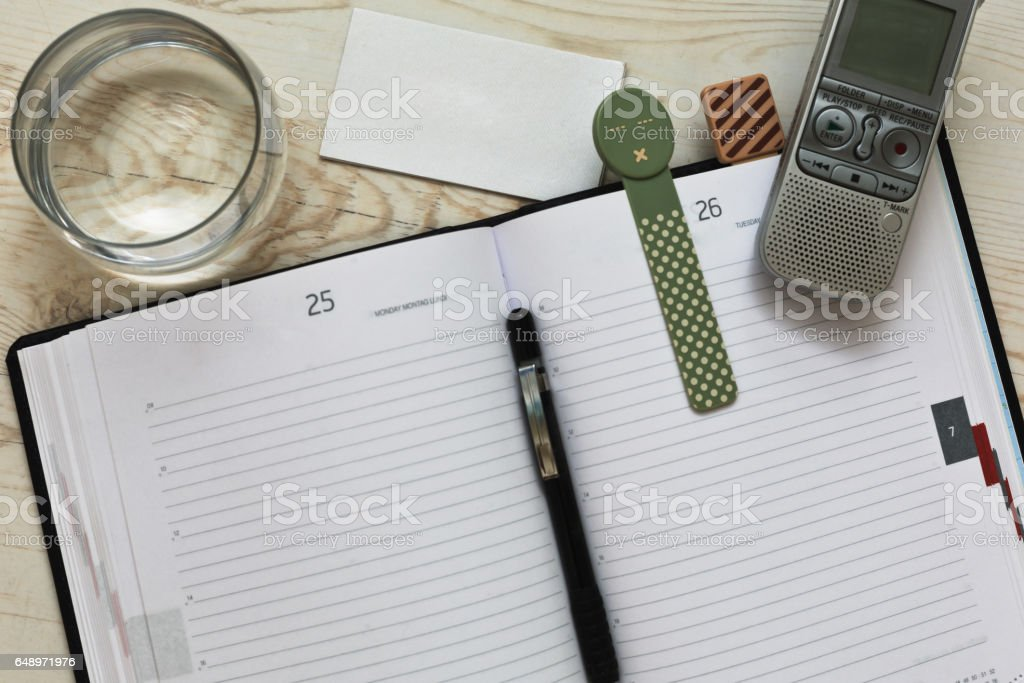 Journalist's typical workspace stock photo
