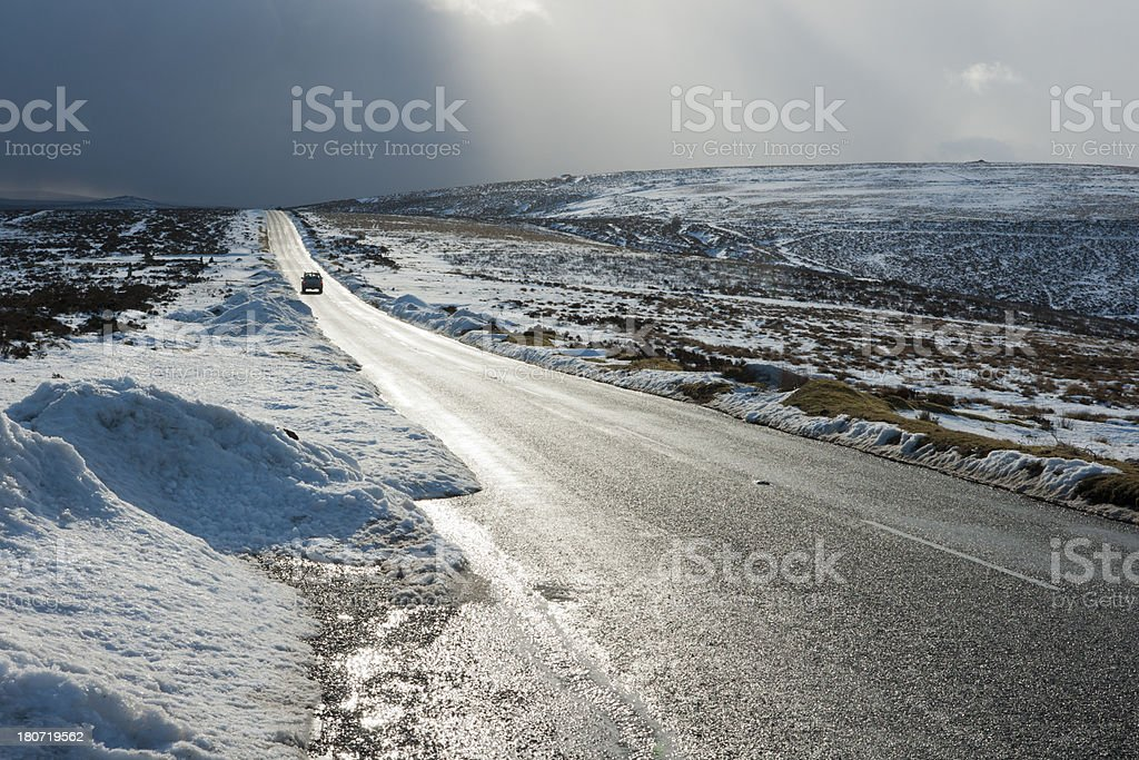 Journey into a heavy snow shower on Dartmoor royalty-free stock photo