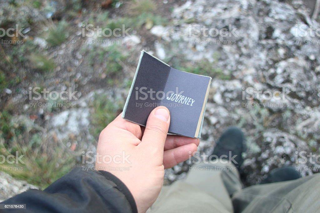 journey or travel idea, book with text photo libre de droits