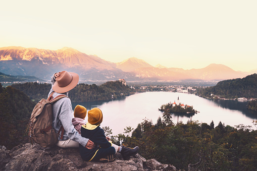 629376126 istock photo Journey Slovenia with kids. Family travel Europe. View on Bled Lake 1181926252