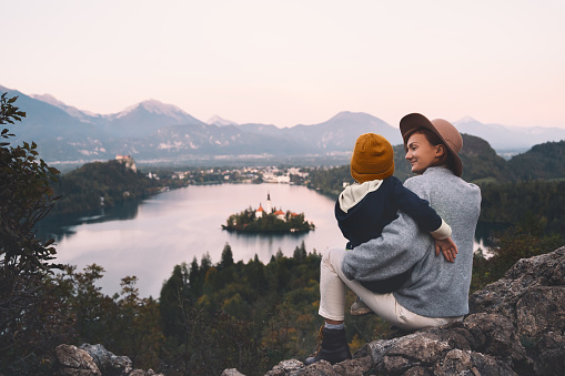 629376126 istock photo Journey Slovenia with kids. Family travel Europe. View on Bled Lake 1181926260