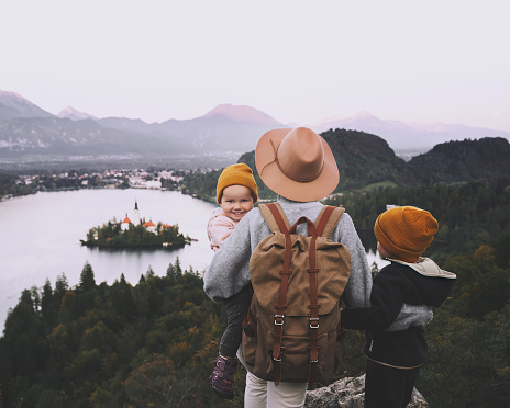 629376126 istock photo Journey Slovenia with kids. Family travel Europe. View on Bled Lake 1181926548