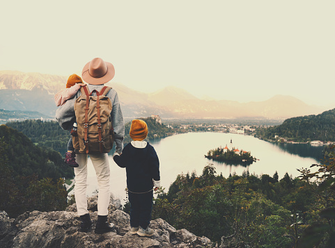 629376126 istock photo Journey Slovenia with kids. Family travel Europe. View on Bled Lake 1181926776