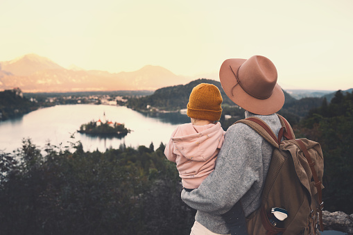 629376126 istock photo Journey Slovenia with kids. Family travel Europe. View on Bled Lake 1181926783