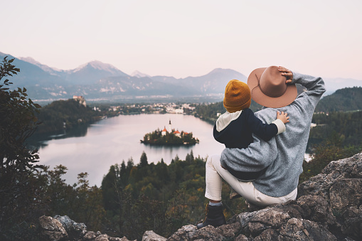 629376126 istock photo Journey Slovenia with kids. Family travel Europe. View on Bled Lake 1181926802