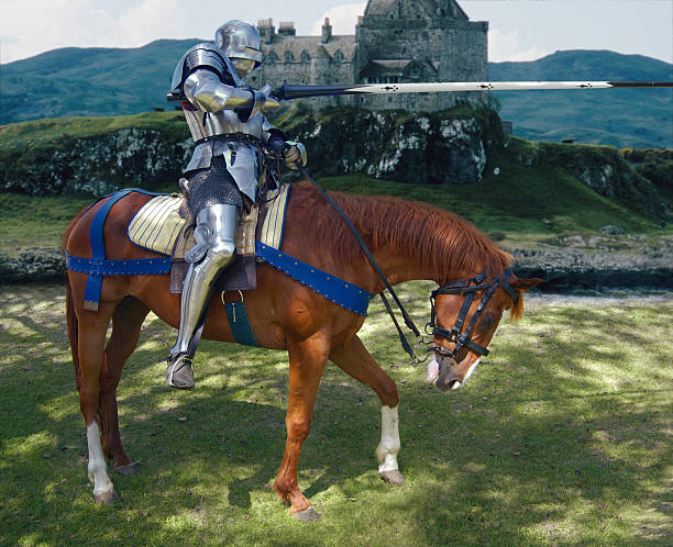 jousting knight - knight on horse stock photos and pictures