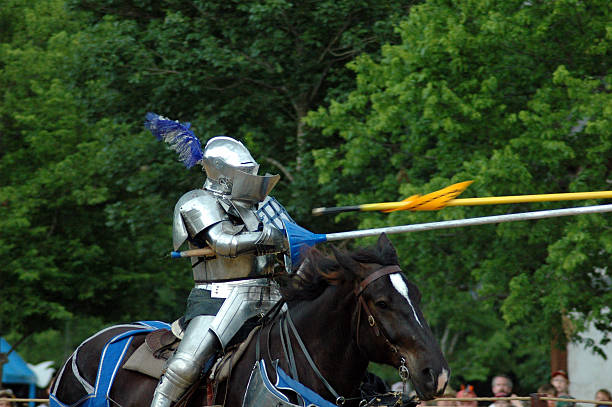 jousting - knight on horse stock photos and pictures