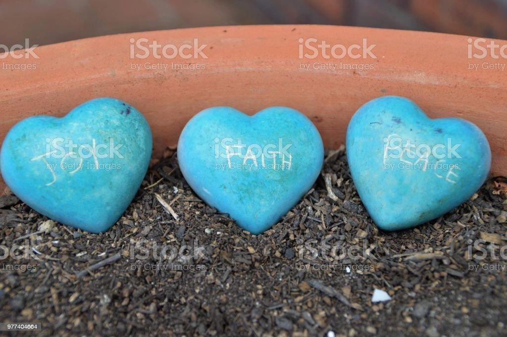 Joy, faith and peace stock photo