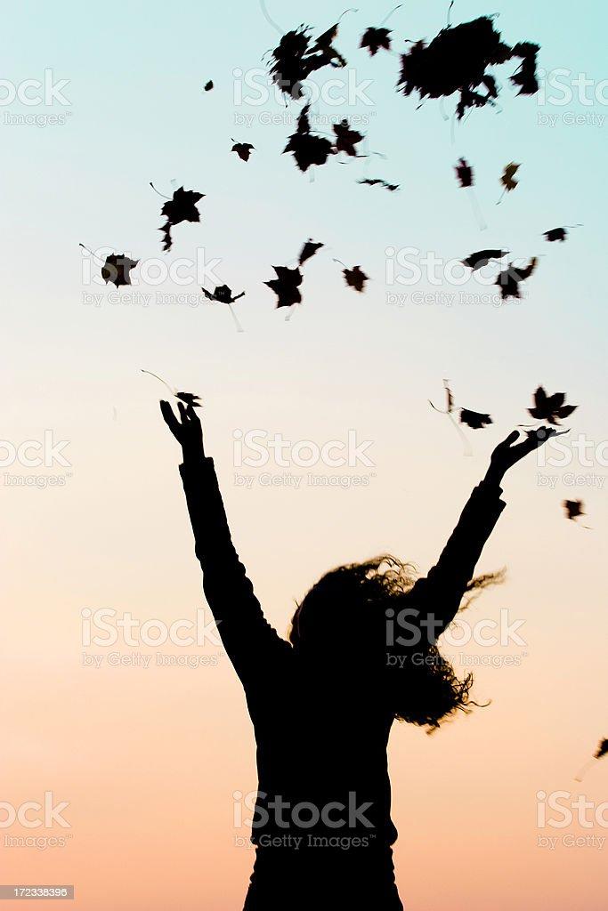 Joy of autumn silhouette royalty-free stock photo