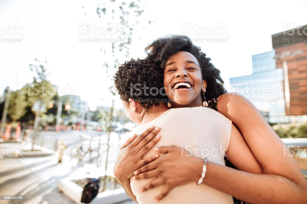 Joy of meeting old friends stock photo