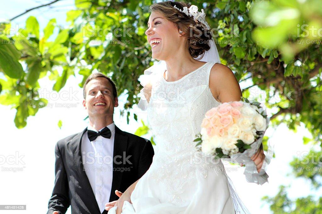 joy of newlywed couple stock photo