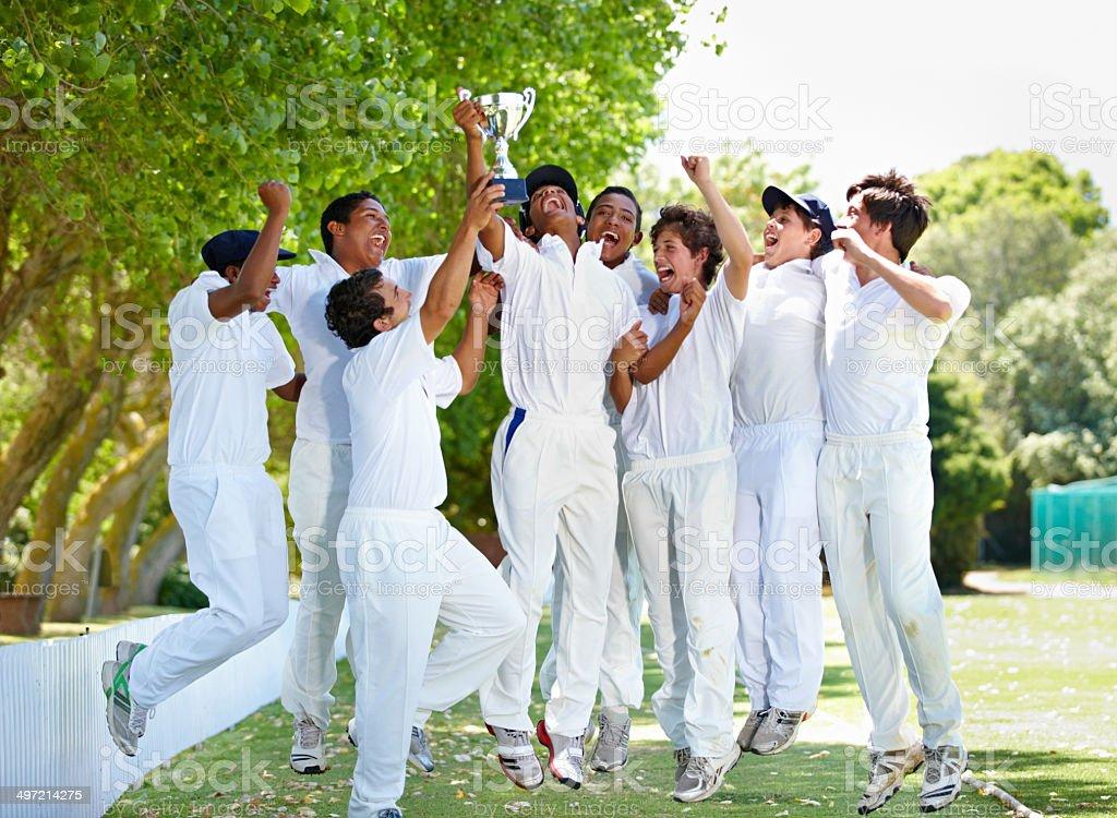 Joy of the victorious team stock photo