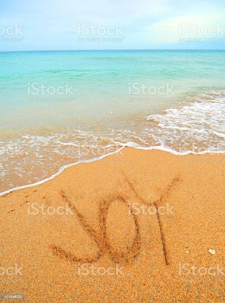 joy written in the sand stock photo