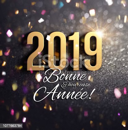 istock Joyful 2019 French Greeting card 1077663784