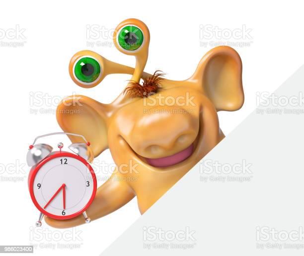 Joyful 3d fantasy cartoon monster holding alarm clock with poster picture id986023400?b=1&k=6&m=986023400&s=612x612&h=w 9wkmrwkwmbl rpd9qg9yuyz8omtu3yhn1cpif9aiq=