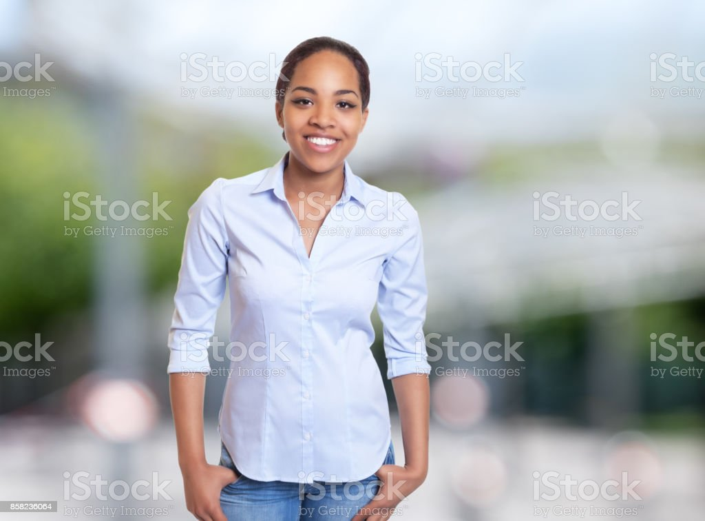 Joyful african american businesswoman stock photo
