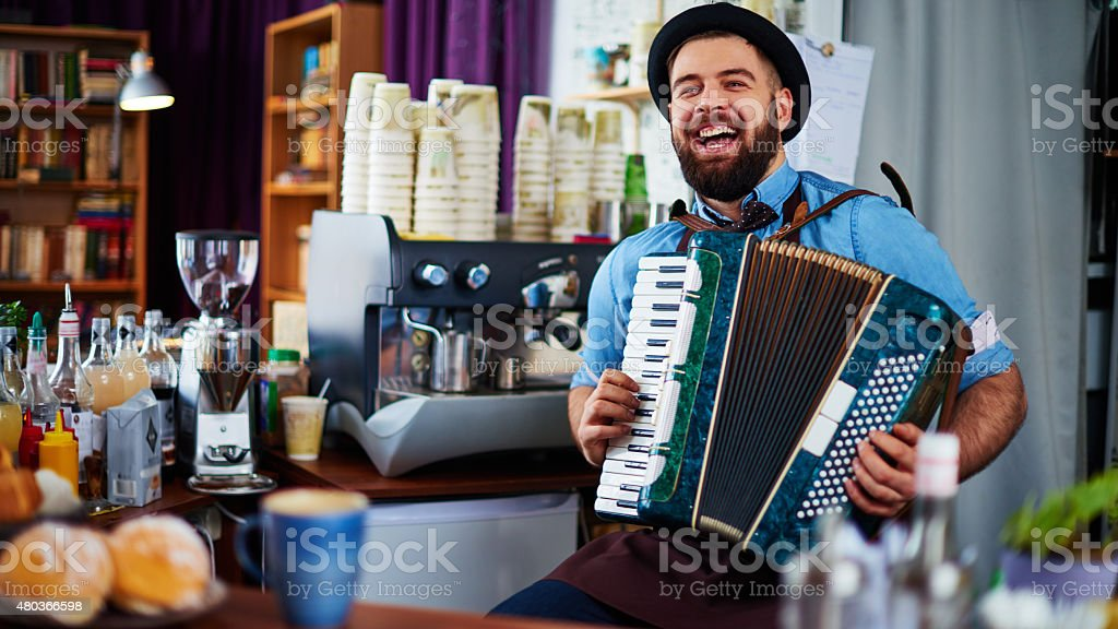 Joyful barista stock photo