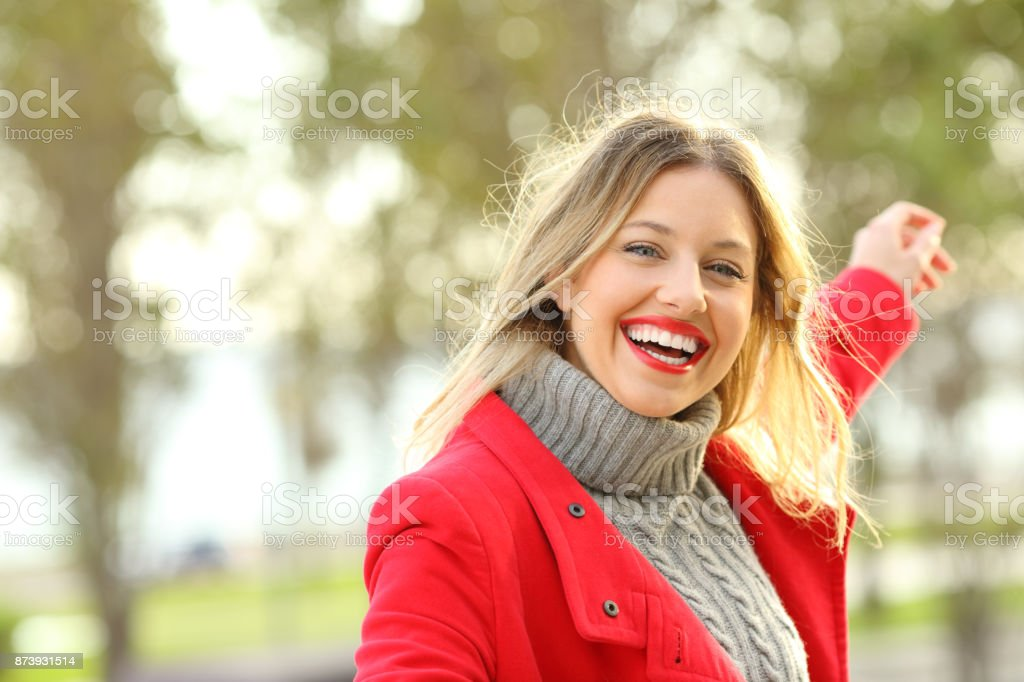 Joyful beauty woman carefree in winter stock photo