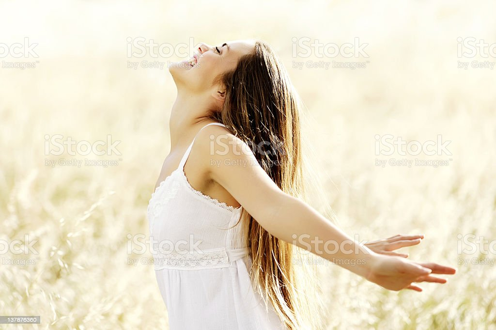 joyful carefree woman stock photo