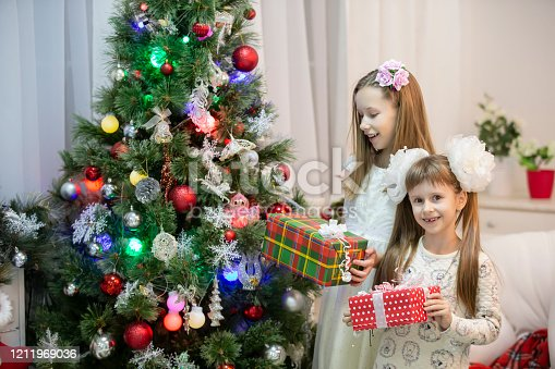 1062609644 istock photo Joyful children at the Christmas tree with gifts on Christmas holidays. 1211969036
