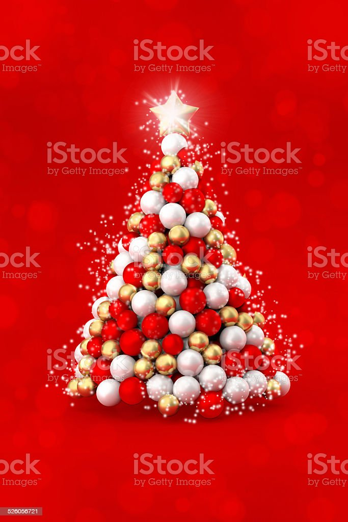 Joyful Christmas Tree White Red And Gold Balls Stock Photo Download Image Now Istock