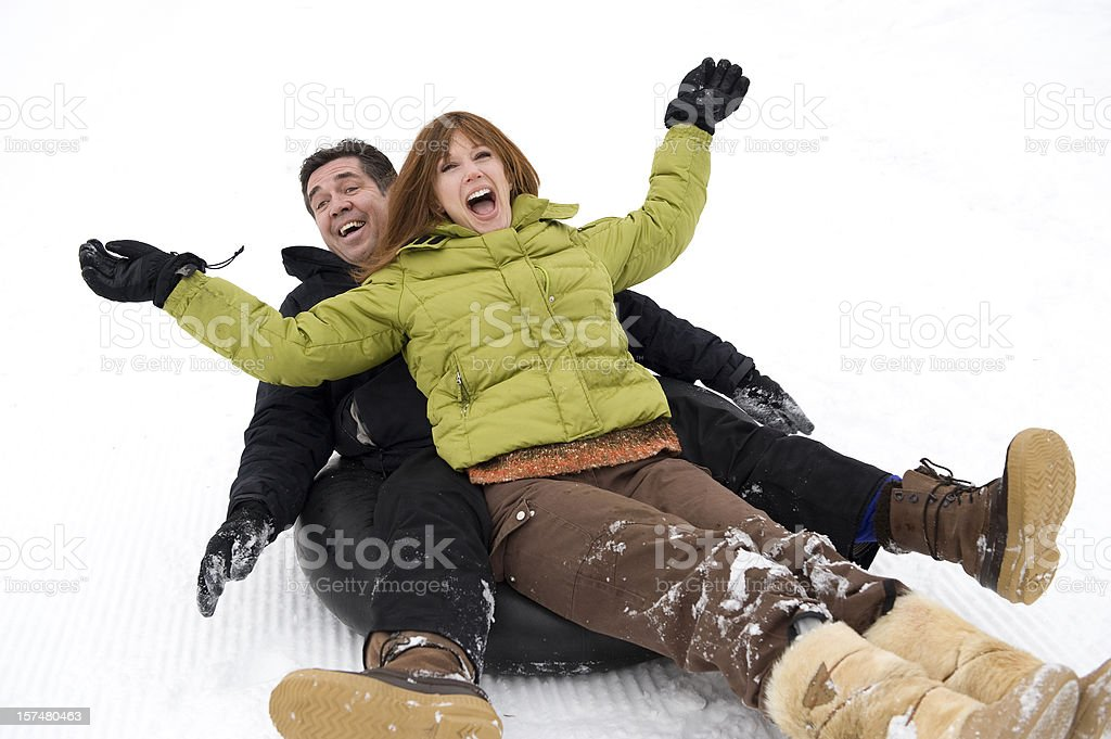 Joyful Couple Having a Good Time on Winter Vacation royalty-free stock photo