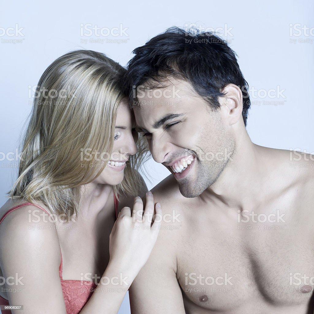joyful couple laughing royalty-free stock photo