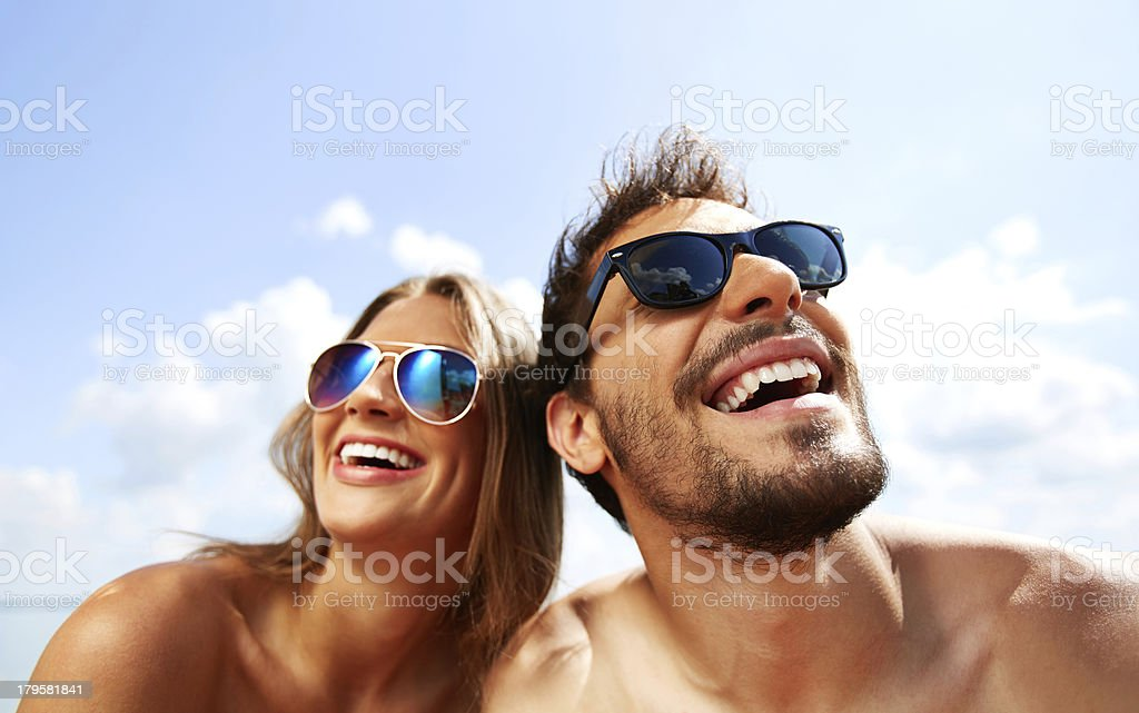 Joyful couple Relaxed young dates having fun on summer day Adult Stock Photo