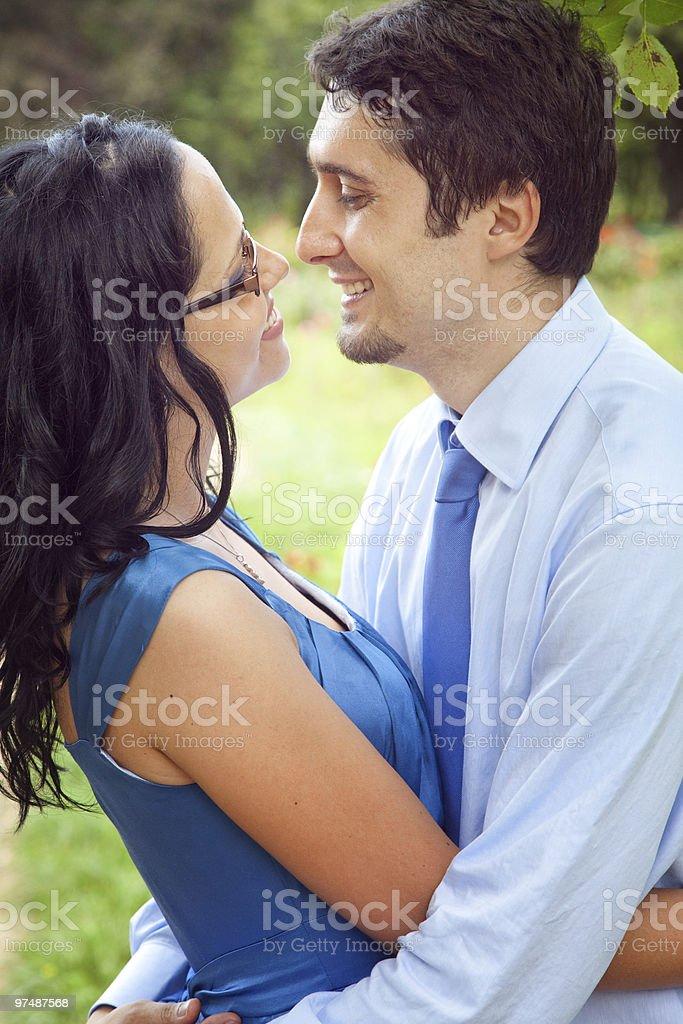Joyful couple sharing a romantic intimate moment royalty-free stock photo