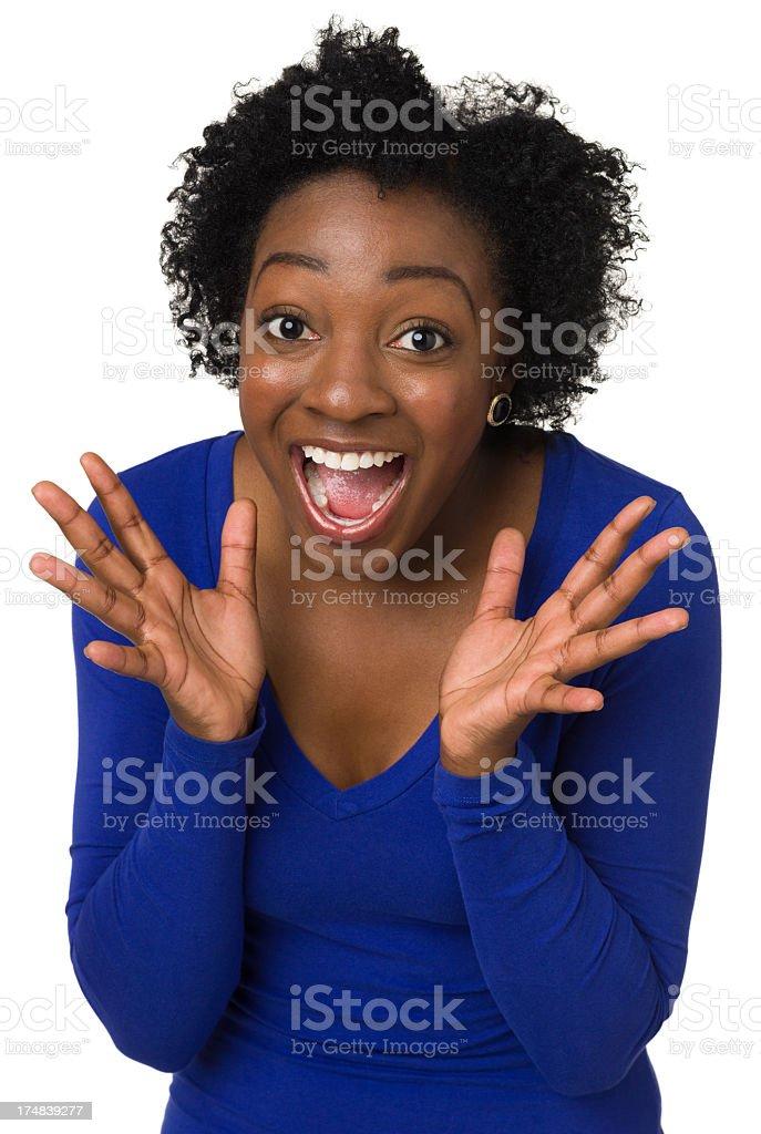 Joyful Excited Young Woman stock photo